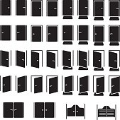 Doors icon set. Vector illustration.