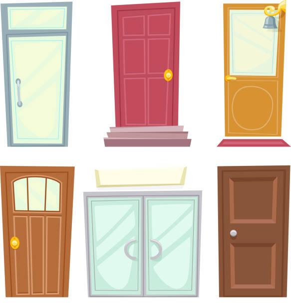 doors icons set house cartoon design isolated vector illustration - türklopfer stock-grafiken, -clipart, -cartoons und -symbole