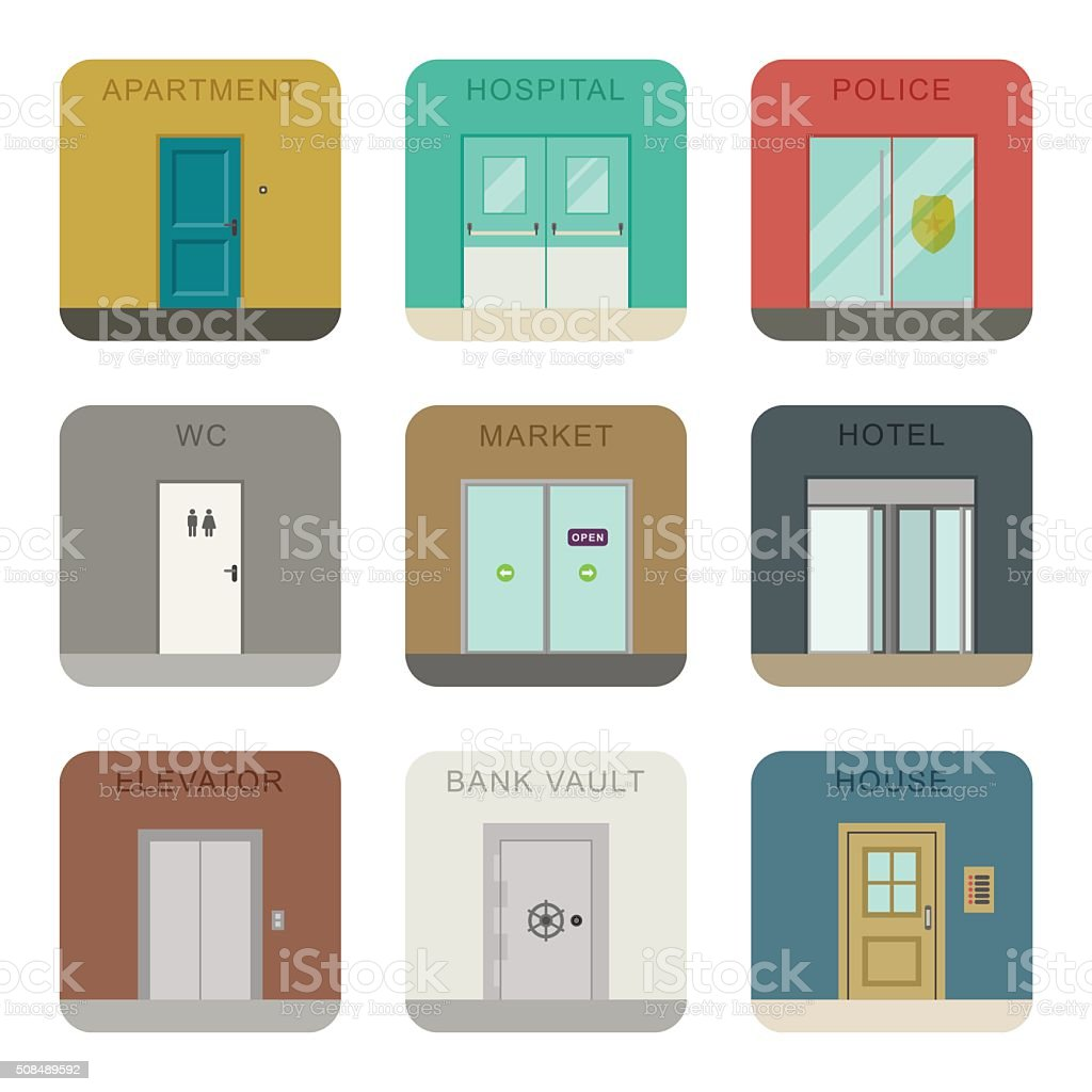 Doors icons set. vector art illustration