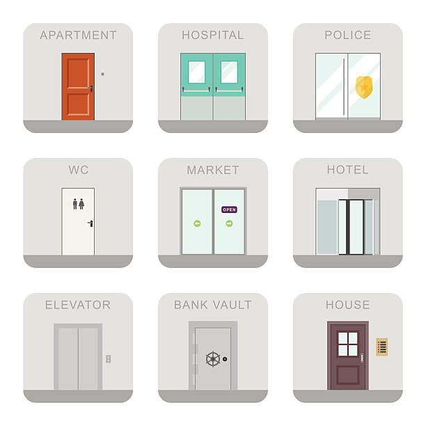 Doors icons. Icons doors for different purposes in flat style. bathroom borders stock illustrations