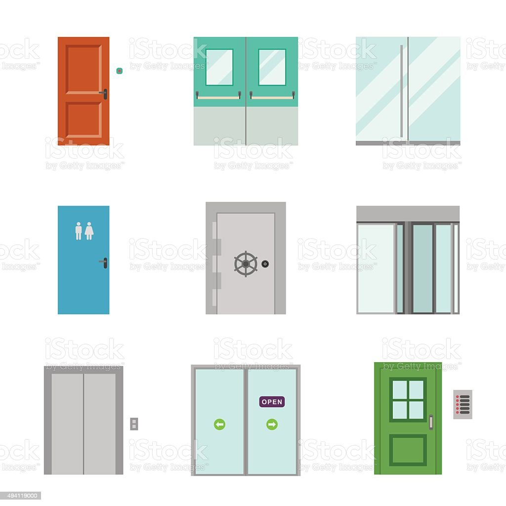 Doors icons. vector art illustration