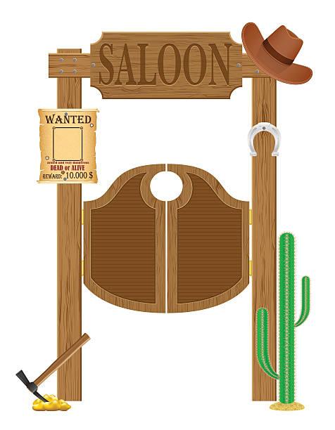 """türen im westlichen saloon """"wild west vektor-illustration - türposter stock-grafiken, -clipart, -cartoons und -symbole"""