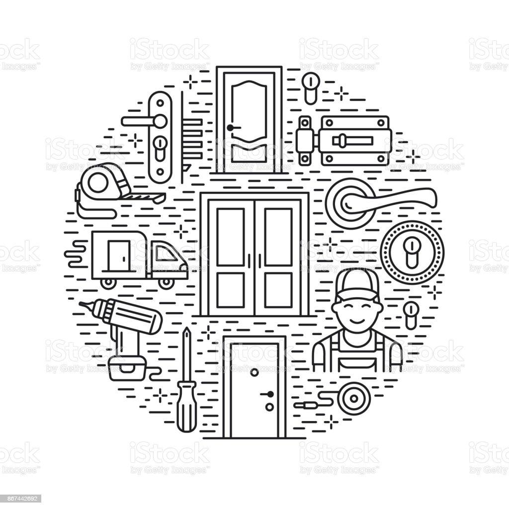 Doors Installation Repair Banner Illustration Vector Line Icons Of ...