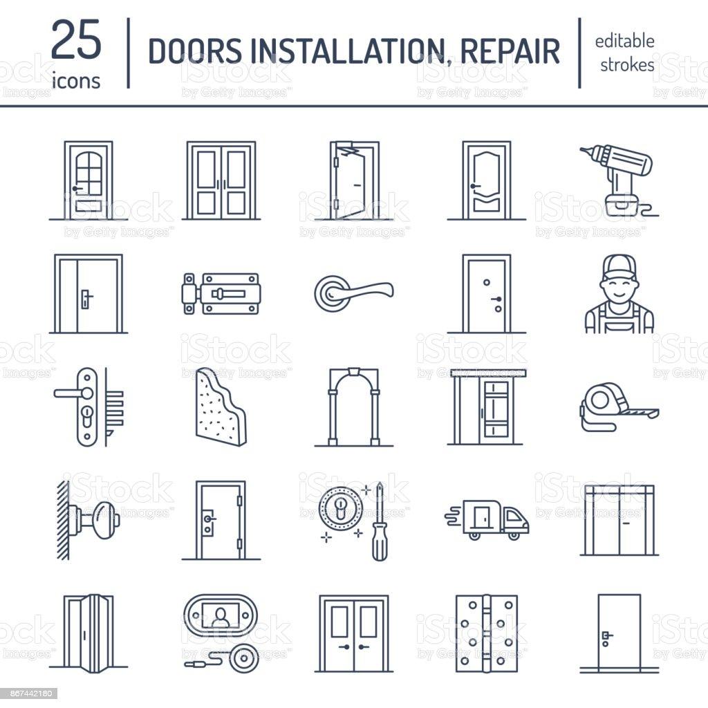 Ilustración de Instalación De Puertas Reparación De Línea Los Iconos ...