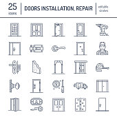 Doors installation, repair line icons. Various door types, handle, latch, lock, hinges. Interior design thin linear signs for house decor shop, handyman service