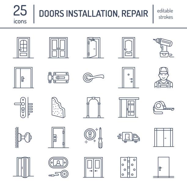 ilustrações, clipart, desenhos animados e ícones de instalação de portas, reparação linha de ícones. vários tipos de porta, alça, trava, fechadura, dobradiças. design de interiores finas sinais lineares para loja de decoração de casa, serviço do trabalhador manual - portal