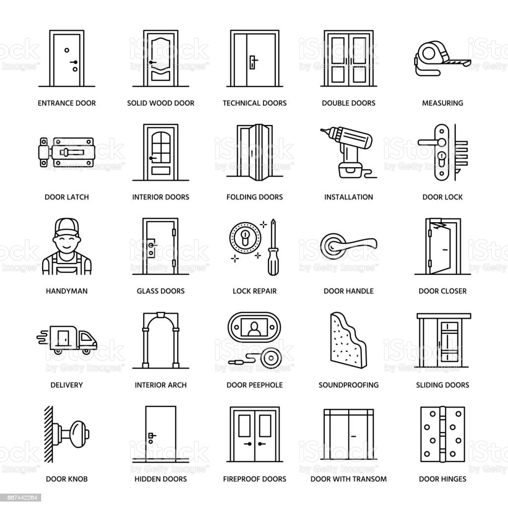 Decorating door types pics : Doors Installation Repair Line Icons Various Door Types Handle ...
