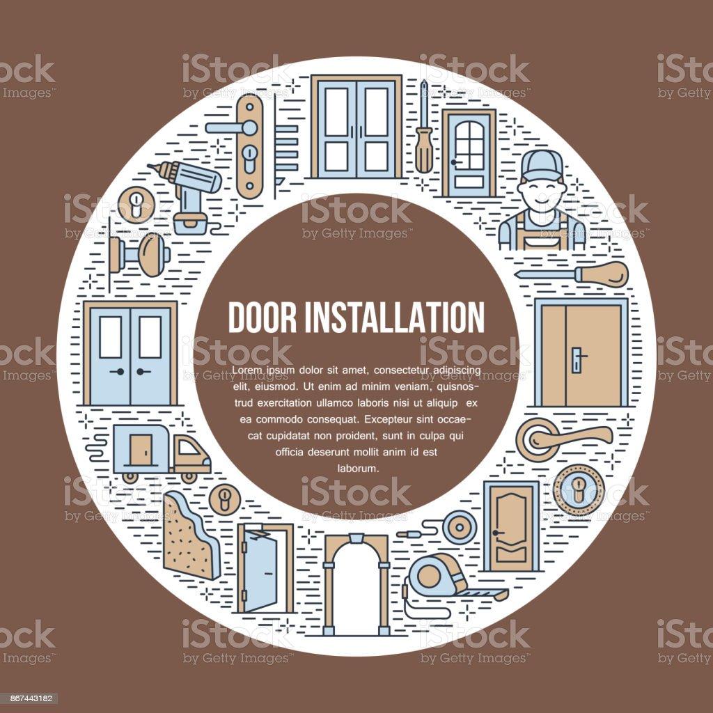 Doors Installation Signs Repair Banner Illustration Vector Line Icon ...