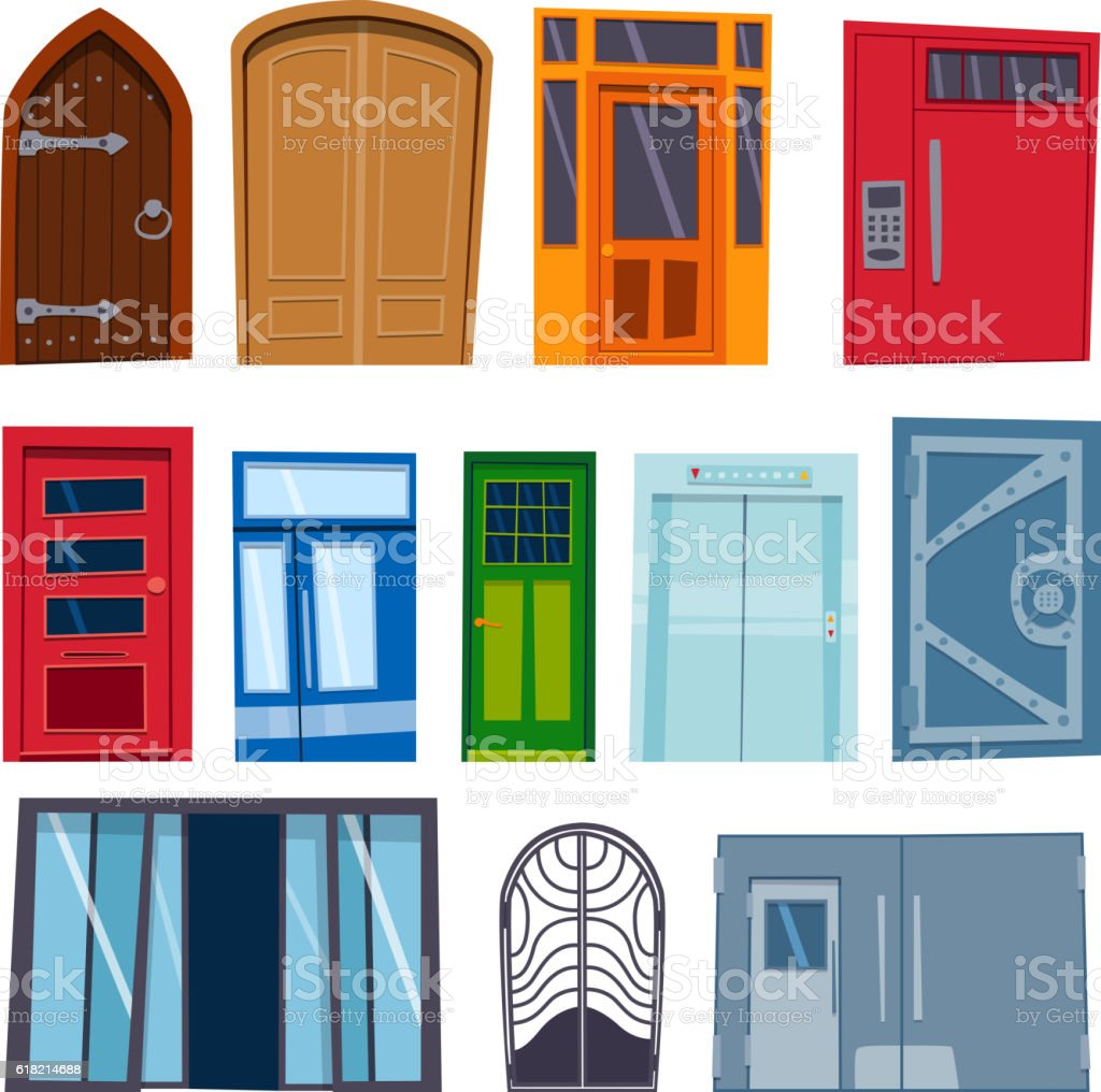 Doors isolated vector illustration. vector art illustration