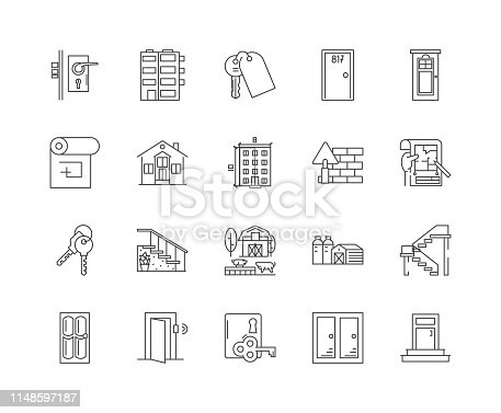 Doors line icons, linear signs, vector set, outline concept illustration