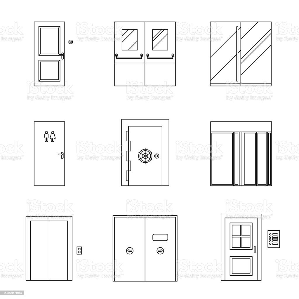Doors line icons. vector art illustration