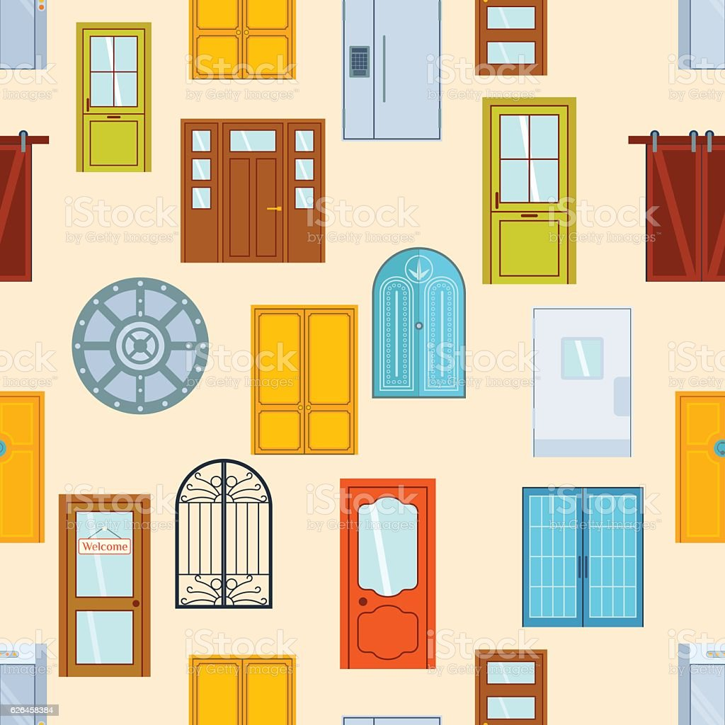 Doors seamless pattern vector illustration. vector art illustration