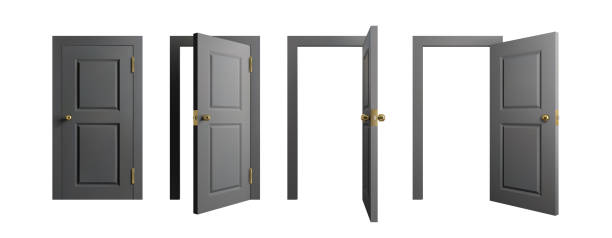 Doors set. Front view opened and closed door. Realistic isolated vector illustration. Doors set. Front view opened and closed doors. Realistic isolated vector illustration door stock illustrations