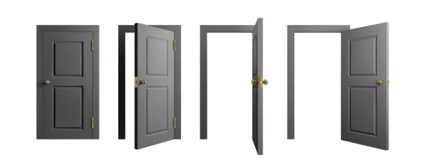 ilustrações, clipart, desenhos animados e ícones de conjunto de portas. vista frontal abriu e fechou a porta. ilustração em vetor isoladas realista. - portal