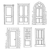 Doors set graphic black white isolated sketch illustration vector