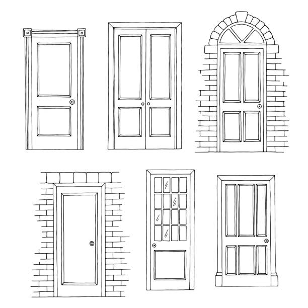 Doors set graphic black white isolated sketch illustration vector Doors set graphic black white isolated sketch illustration vector door stock illustrations