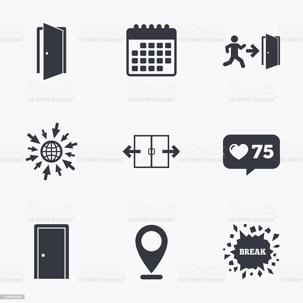 Doors signs emergency exit with arrow symbol stock vector art emergency exit with arrow symbol royalty free stock vector art buycottarizona Images