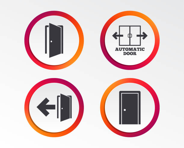 Doors signs. Emergency exit with arrow symbol. vector art illustration