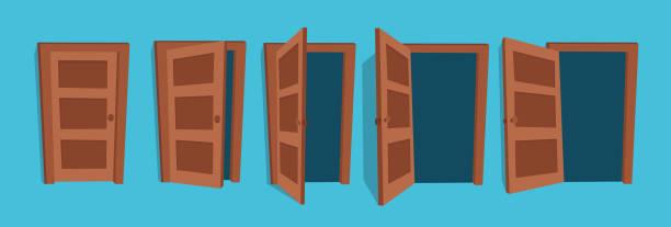 Doors. Cartoon vector illustration of the open and closed doors. door stock illustrations