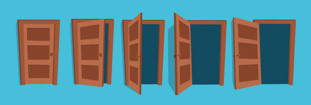 Doors. Cartoon vector illustration of the open and closed doors. door stock illustrations