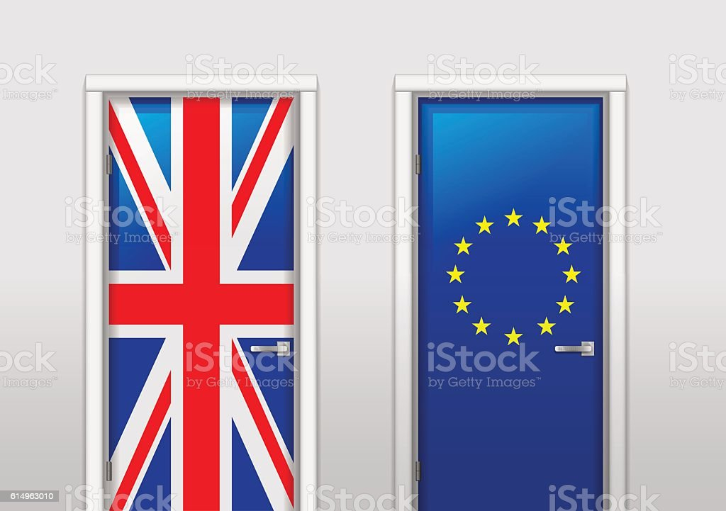 Doors with colors of flags vector art illustration