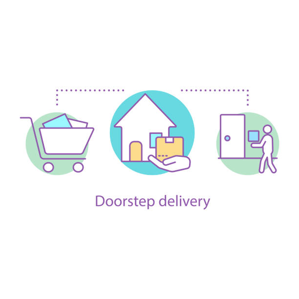 Doorstep delivery icon Doorstep delivery concept icon. Vector idea thin line illustration. Home delivery service. Courier. Shipment front stoop stock illustrations