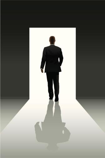 Doorway and businessman