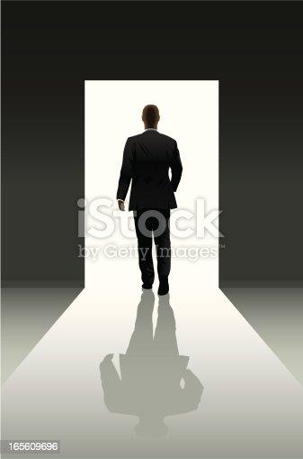 istock Doorway and businessman 165609696