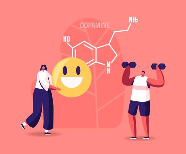 khái niệm dopamine. nhân vật tận hưởng cuộc sống do sản xuất hormone trong sinh vật. thể thao tập thể dục, mỉm cười, vui mừng - dopamine hình minh họa sẵn có