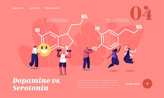 Dopamine, Serotonin Landing Page Template. People Enjoying Life near Huge Formula. Hormones Production in Organism. Characters Jumping, Exercising, Rejoice, Human Health. Cartoon Vector Illustration