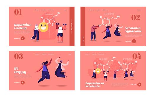 Dopamine, Serotonin Landing Page Template Set. People Enjoying Life near Huge Formula. Hormones Production in Organism. Characters Jump, Exercising, Rejoice, Human Health. Cartoon Vector Illustration