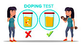 Doping, Drug Test Cartoon Vector Banner Template