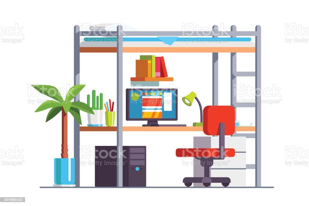 Image of: Dormitory Bedroom With Desk Computer Bunk Bed Stock Illustration Download Image Now Istock