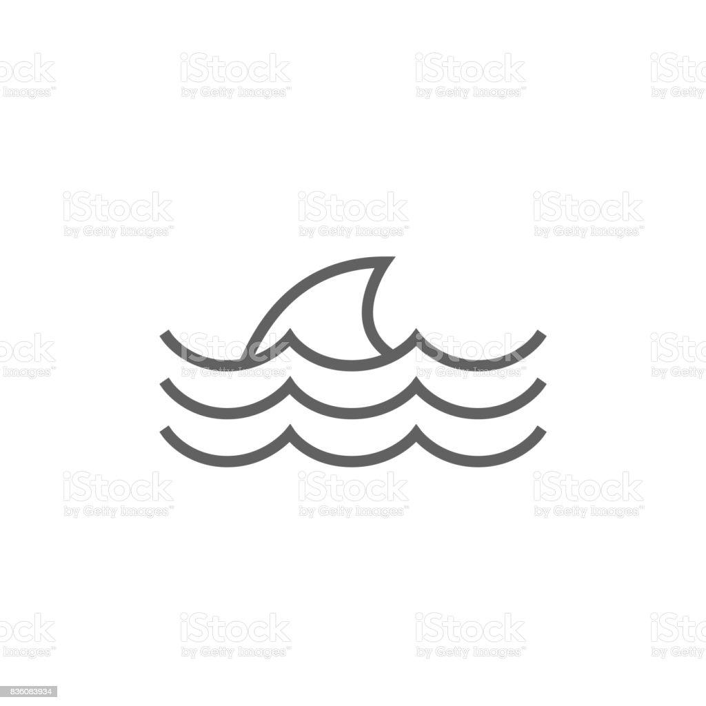 Aileron de requin dorsale ligne icône au-dessus de l'eau - Illustration vectorielle