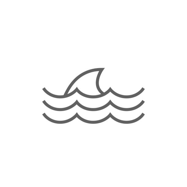 ilustrações de stock, clip art, desenhos animados e ícones de dorsal shark fin above water line icon - algarve