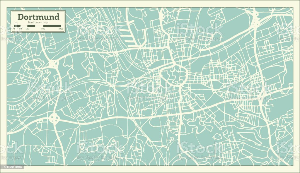 Dortmund Germany City Map In Retro Style Outline Map Stock Illustration Download Image Now Istock