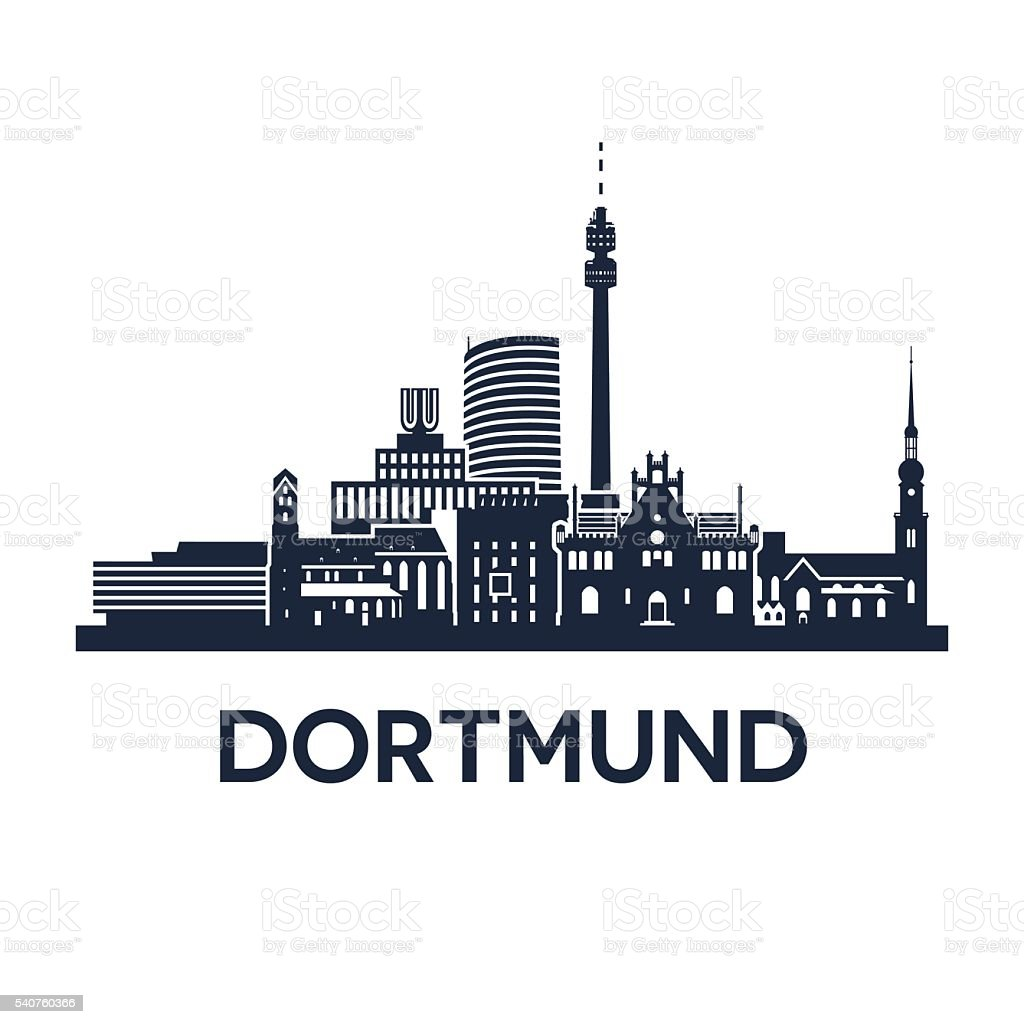 Dortmund Skyline Emblem vector art illustration