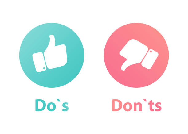 do`s and Don't or Like & Unlike. Icons with thumbs up and thumbs down icons do`s and Don't or Like & Unlike. Icons with thumbs up and thumbs down icons imitation stock illustrations