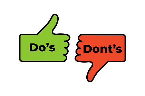 Do's and Don'ts like thumbs up or down. Flat thumb up symbol minimal round logotype element set graphic design isolated on white. Vector stock illustration eps 10