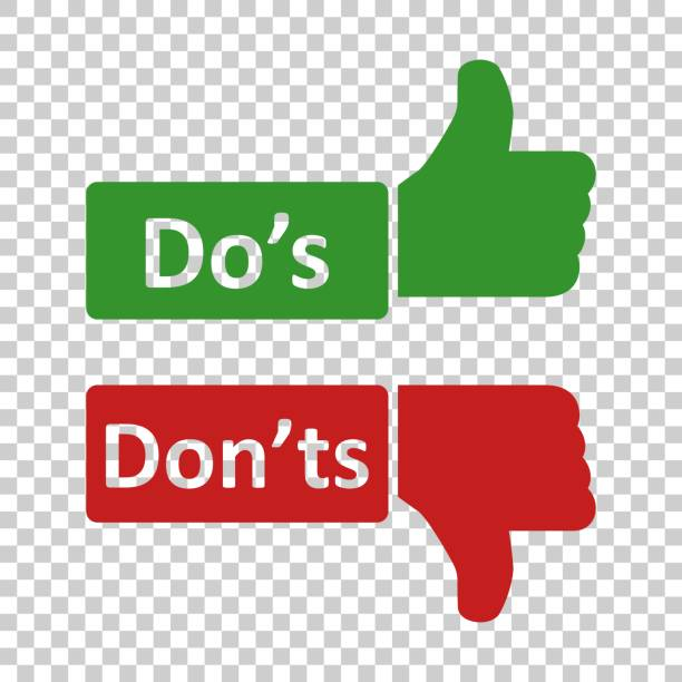 Do's and don'ts sign icon in transparent style. Like, unlike vector illustration on isolated background. Yes, no business concept. Do's and don'ts sign icon in transparent style. Like, unlike vector illustration on isolated background. Yes, no business concept. rules stock illustrations