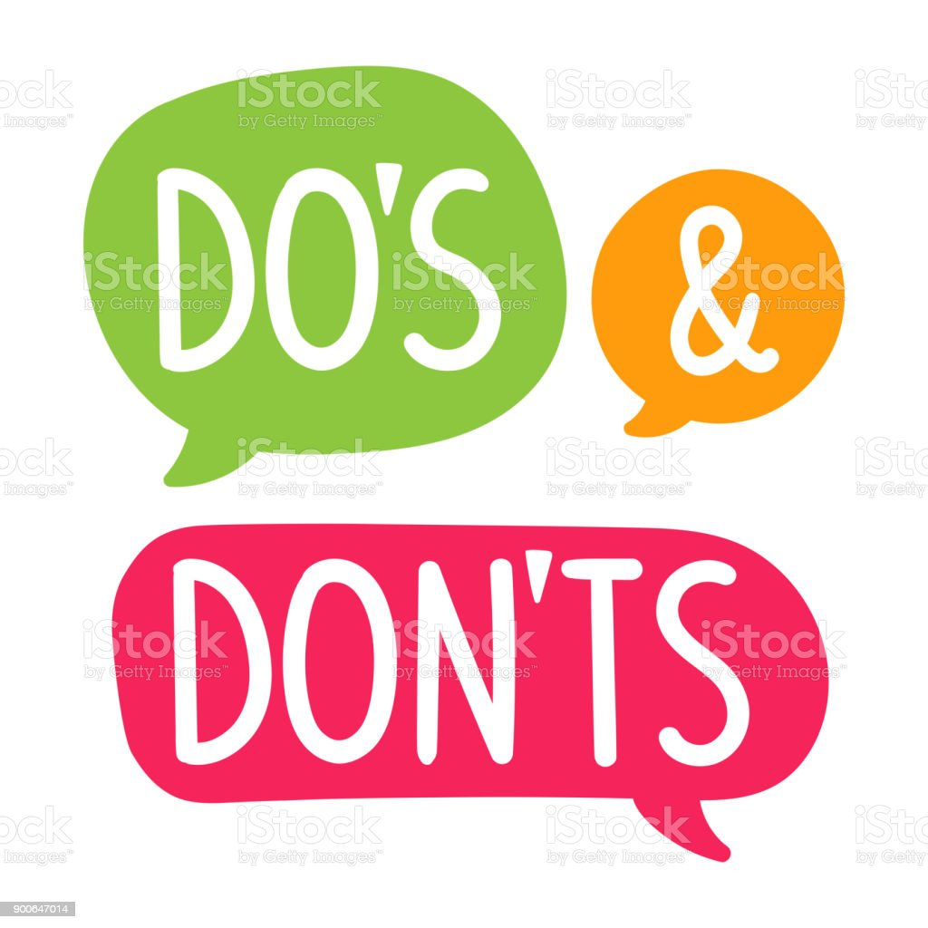 Do's and Don'ts. Vector hand drawn speech bubbles, label, badge, sticker illustration on white background. vector art illustration
