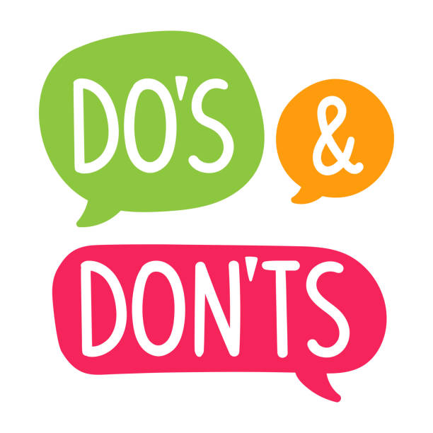 Do's and Don'ts. Vector hand drawn speech bubbles, label, badge, sticker illustration on white background. Business concept. rules stock illustrations
