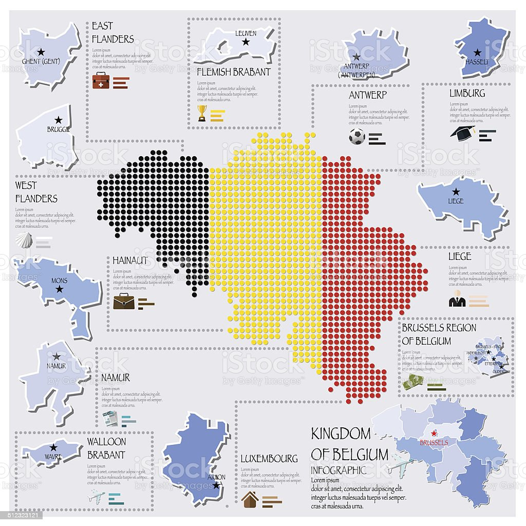 Dot And Flag Map Of Belgium Infographic Design vector art illustration