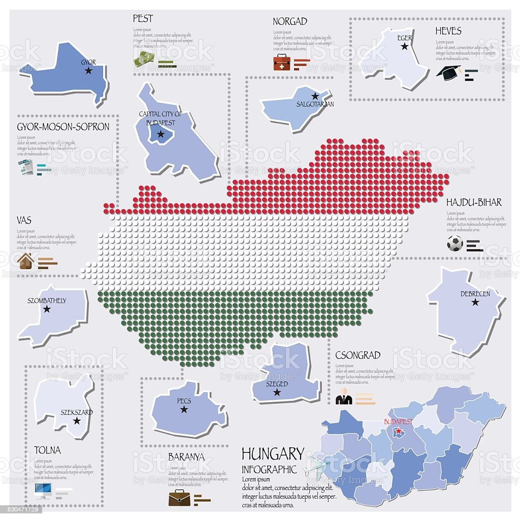 Dot And Flag Map Of Hungary Infographic Design Template