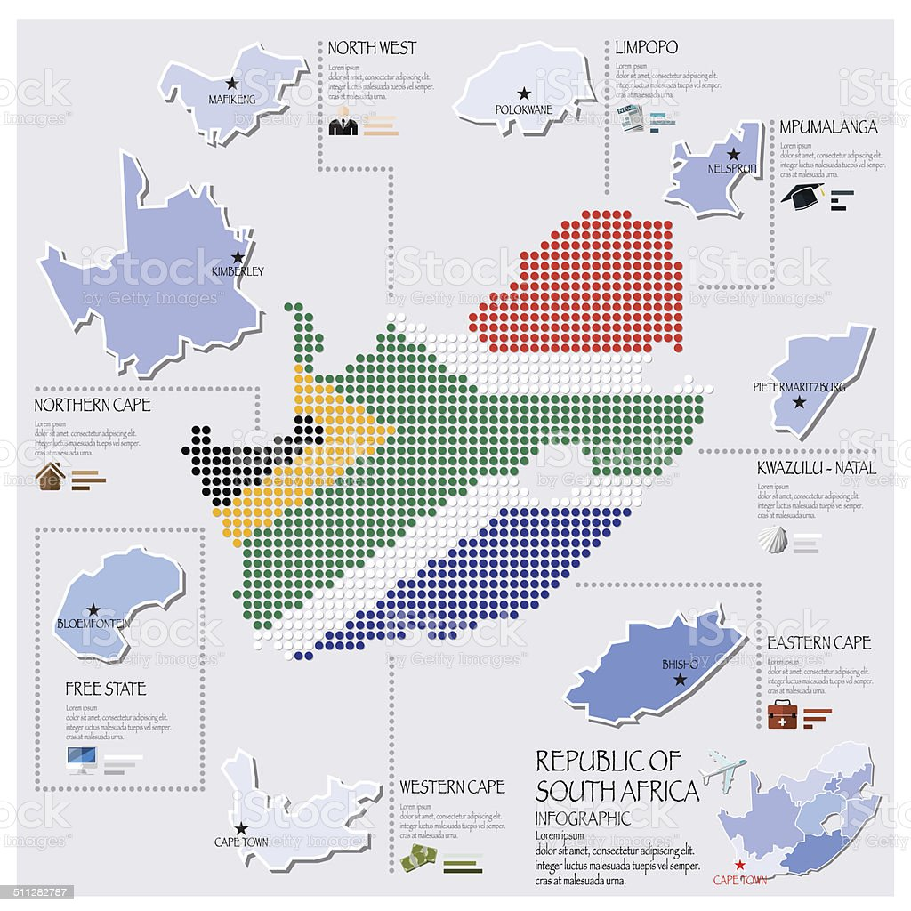 Dot And Flag Map Of South Africa Infographic Design vector art illustration