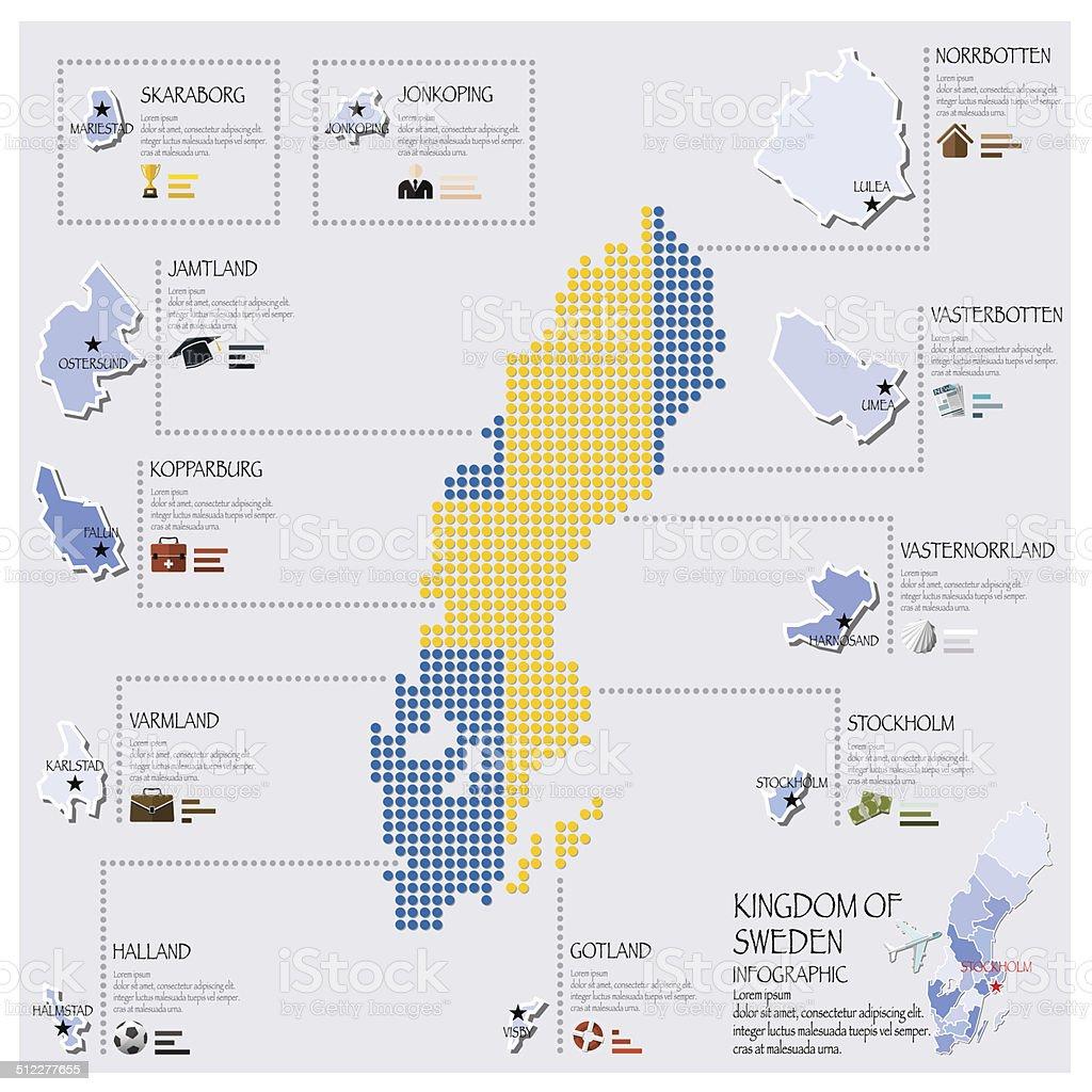 Dot And Flag Map Of Sweden Infographic Design vector art illustration