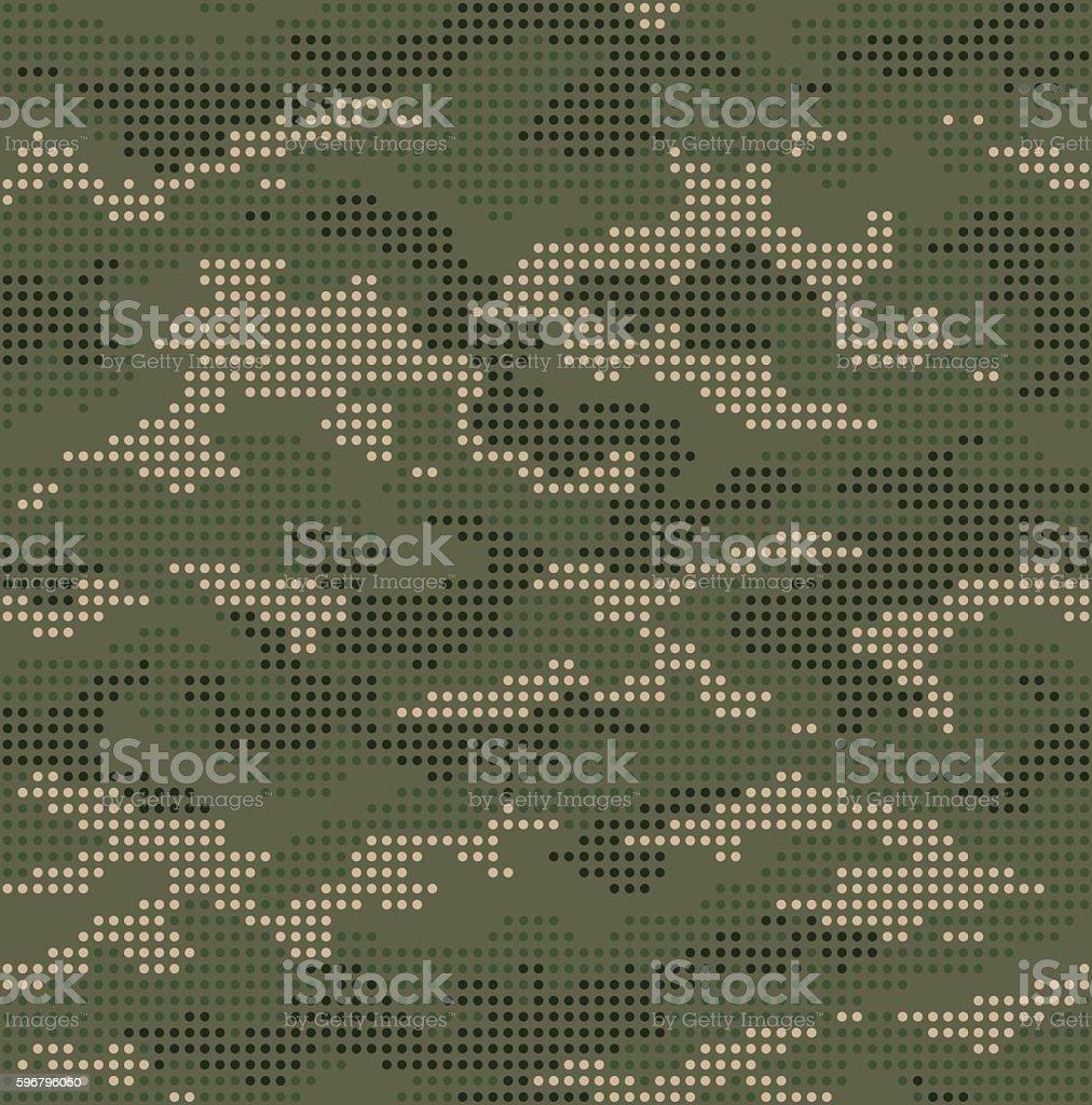 Dot camouflage seamless pattern green vector art illustration
