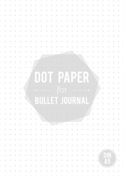 Dot grid paper. A5 size. For bullet journal. Vector illustration, minimal design Dot grid paper. A5 size. For bullet journal. Vector illustration, minimal design diary stock illustrations