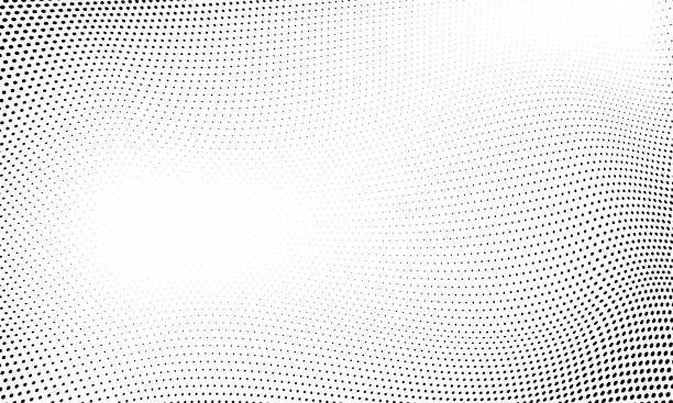 dot halftone pattern background. vector abstract circle wave grid or geometric gradient texture background - wzory i tła stock illustrations