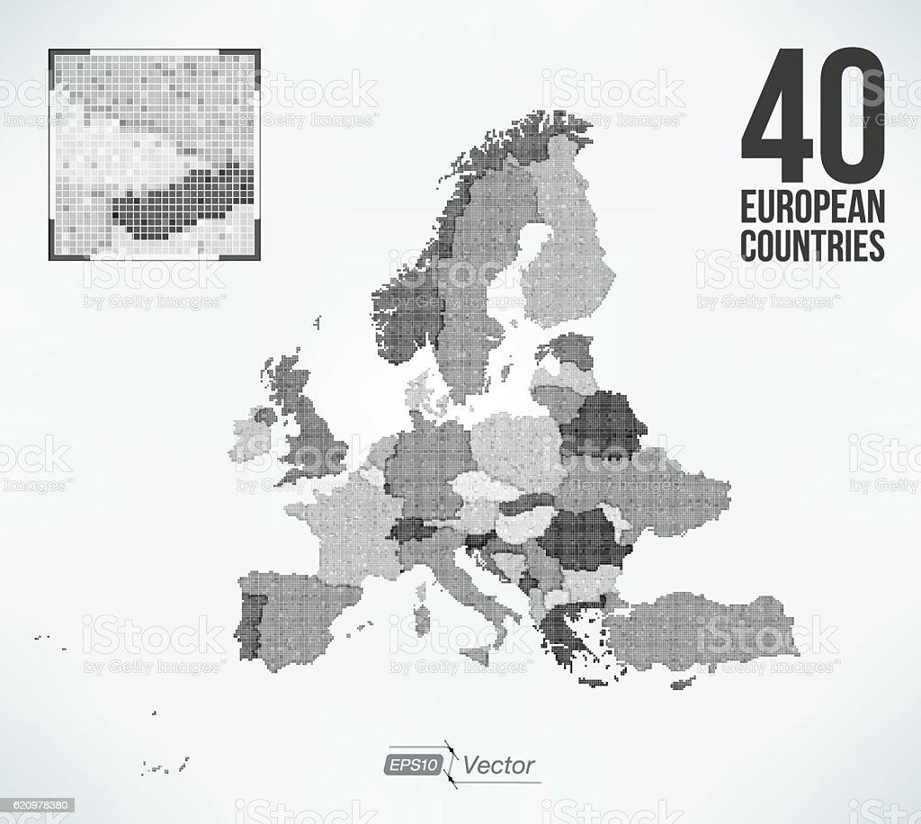 Dot Matrix Vector Europe Map 40 European Countries Stock Vector